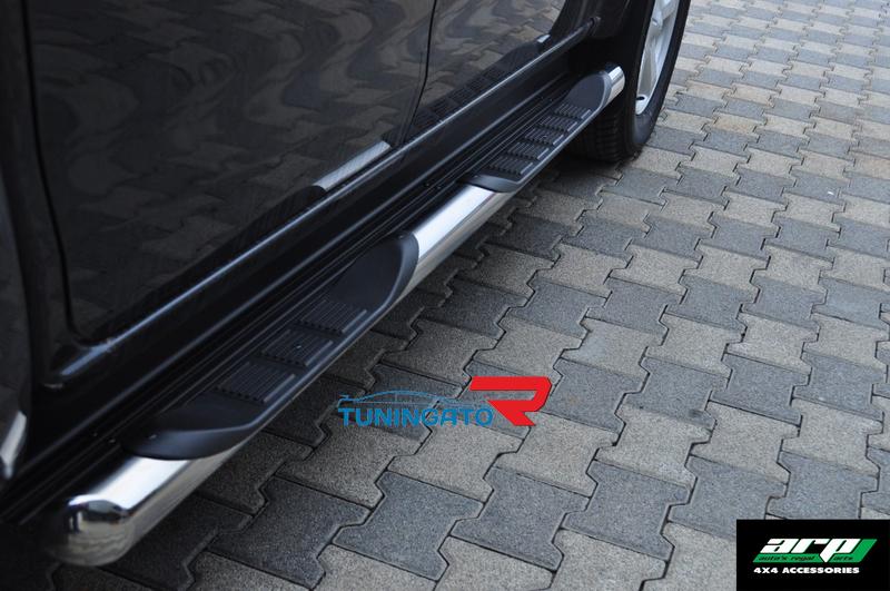 Подножки боковые, Пороги труба d 76 c 2-проступями (компл 2шт) Nissan NP-300 2008-