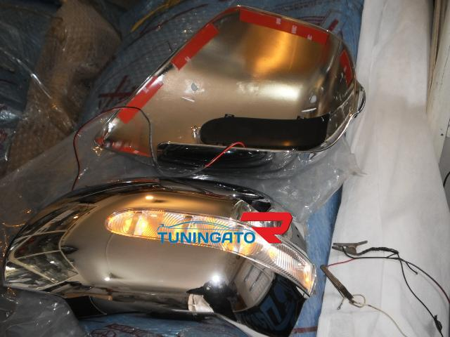 Хромированные накладки с поворотниками на зеркала заднего вида LC Prado 95к.
