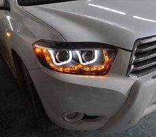 Тюнинг фары ангельские глазки черные для Toyota Highlander 2008 -
