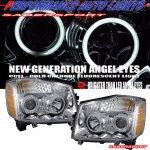 Фары тюнинговые, ангельские глазки (хром #2) CCFL для Nissan Armada 04-10 Halo Projector Headlights