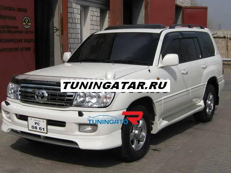 Накладка на передний бампер (ГУБА) для Land Cruiser 100