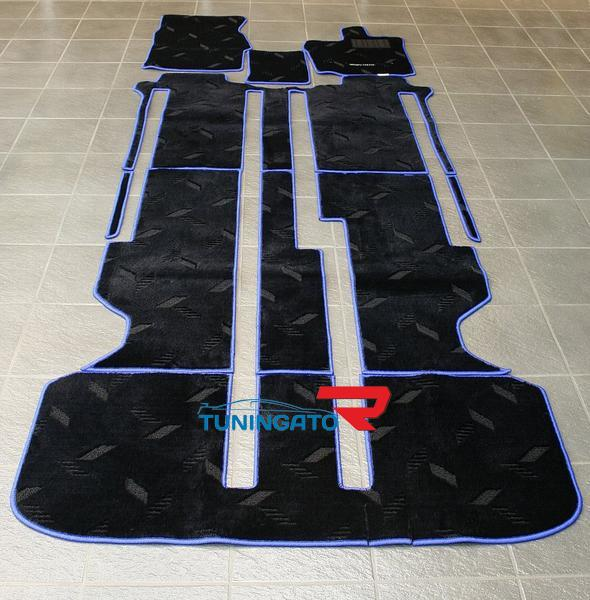 Коврики ворсовые в салон MZ Speed , черные с синей оконтовкой, отличного качества на Toyota Alphard 02