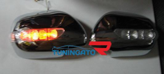 Корпуса зеркал хромированные с поворотником и габаритом Япония TOYOTA HILUX SURF / 4RUN