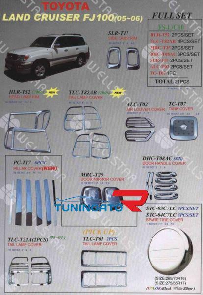 Хромированные накладки кузова FS-L/C10 Тайвань LAND CRUISER 100 (05-07)