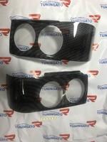 Защита на фары 3D карбон для ISUZU BIGHORN (91-96)
