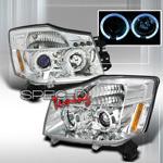 Фары тюнинговые (хром #3) для Nissan Armada 04-10 , Halo Projector Headlights