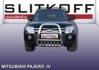 Кенгурятник высокий ф76 с защитой картера Mitsubishi Pajero IV Артикул: MPJ001