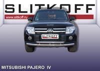 Защита переднего бампера двойная ф76+ф57 Mitsubishi Pajero IV Артикул: MPJ009