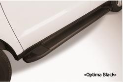 """Пороги алюминиевые """"Optima Black"""" 1800 черные для Toyota Prado 2014г.+"""
