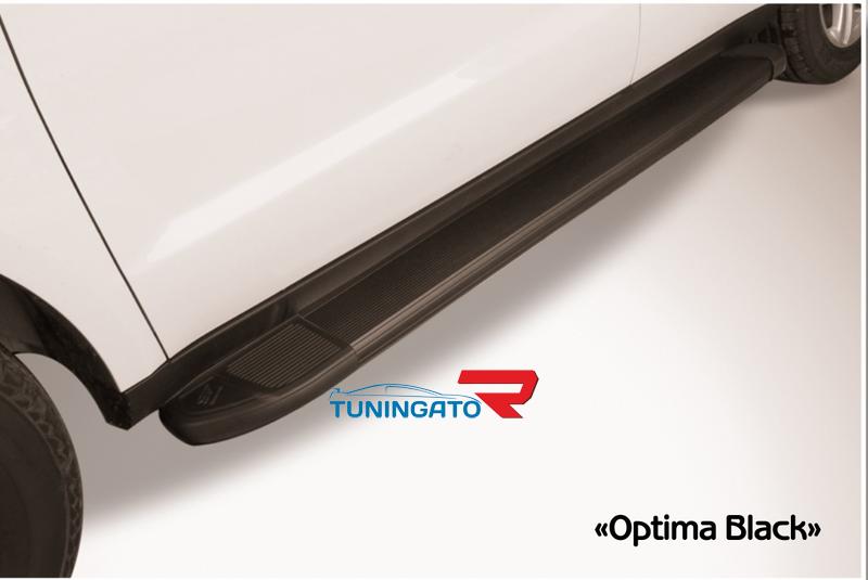Пороги алюминиевые Optima Black 1800 черные для Toyota Highlander 2014г