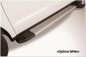 Пороги алюминиевые Optima Silver 1800 серебристые для Highlander 2014г