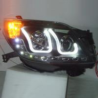 Фары тюнинговые New Style (ангельские глазки чёрные, LED подсветка и ходовые огни ) для LAND CRUISER PRADO 150