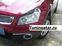 Реснички на фары карбон, для Nissan Qashqai \+2\ Dualis