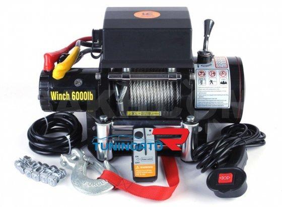 Лебедка электрическая 12V Electric Winch 6000lbs / 2722 кг (3 контакта) серая 3003
