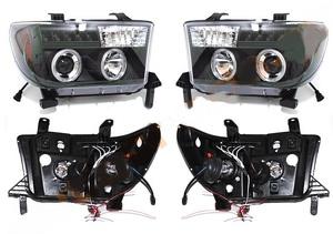 Тюнинг фары ангельские глазки черные для Toyota Tundra 2007-13г.