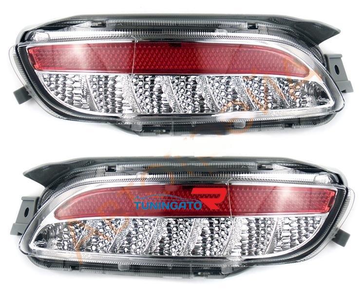 Диодные фонари в задний бампер красно-белый для Toyota Harrier 02-09г.