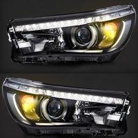 Фары диодные LED с линзой для Toyota Hilux Revo 2015г
